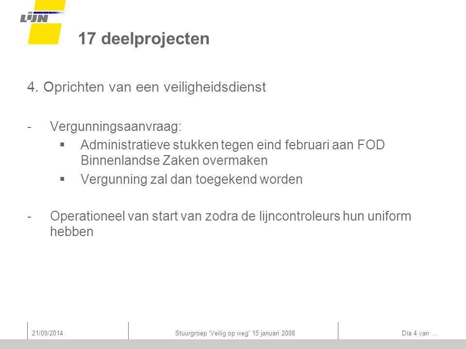 21/09/2014Stuurgroep 'Veilig op weg' 15 januari 2008 Dia 4 van … 17 deelprojecten 4.