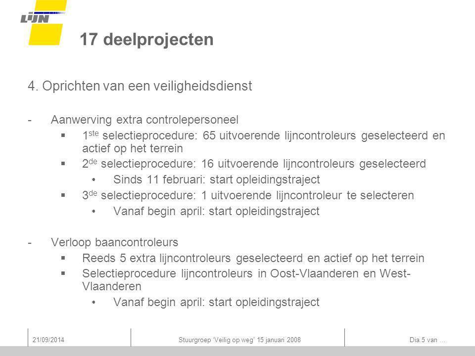 21/09/2014Stuurgroep 'Veilig op weg' 15 januari 2008 Dia 5 van … 17 deelprojecten 4.