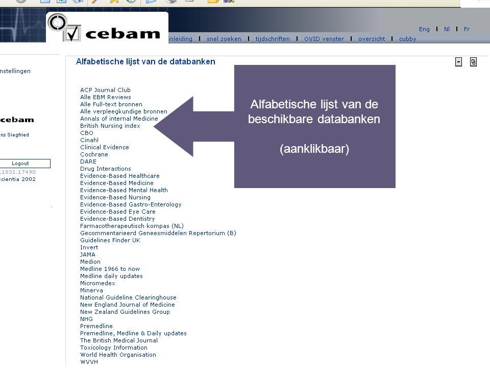 Alfabetische lijst van de beschikbare databanken (aanklikbaar)