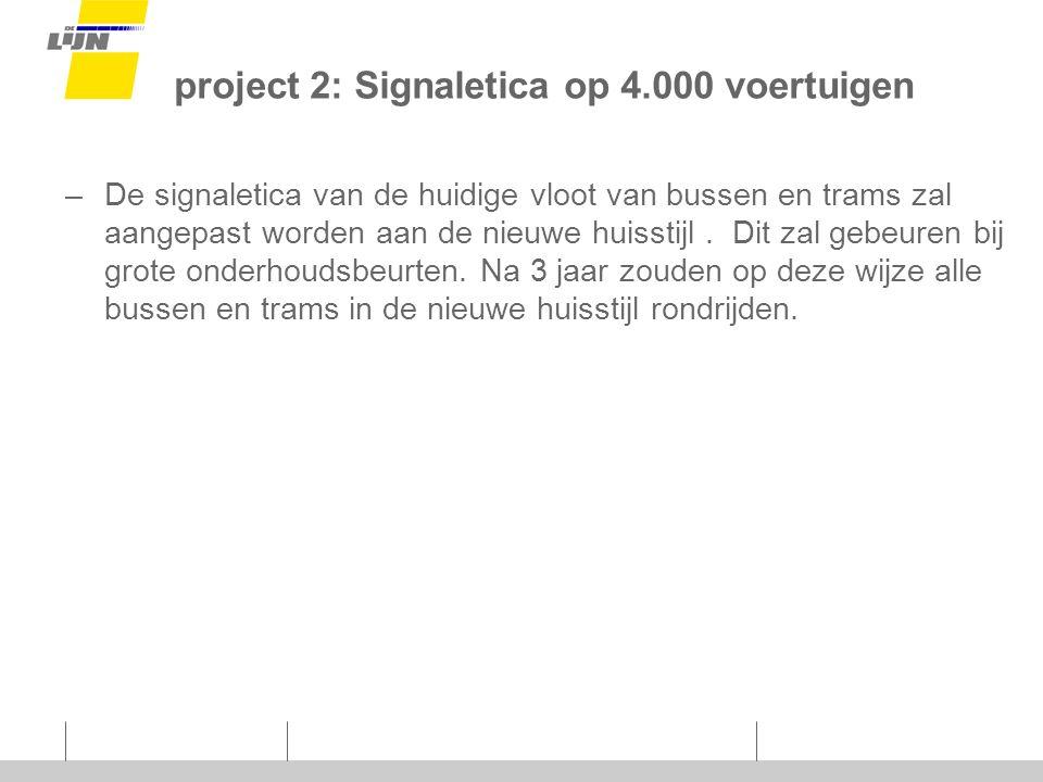 project 2: Signaletica op 4.000 voertuigen –De signaletica van de huidige vloot van bussen en trams zal aangepast worden aan de nieuwe huisstijl.