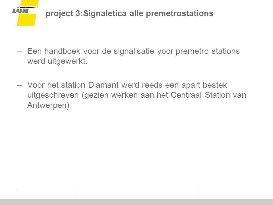 project 3:Signaletica alle premetrostations –Een handboek voor de signalisatie voor premetro stations werd uitgewerkt.