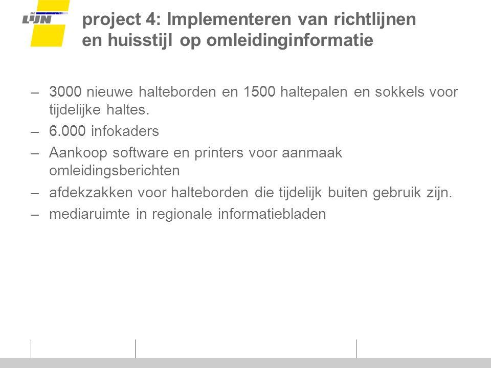 project 4: Implementeren van richtlijnen en huisstijl op omleidinginformatie –3000 nieuwe halteborden en 1500 haltepalen en sokkels voor tijdelijke haltes.