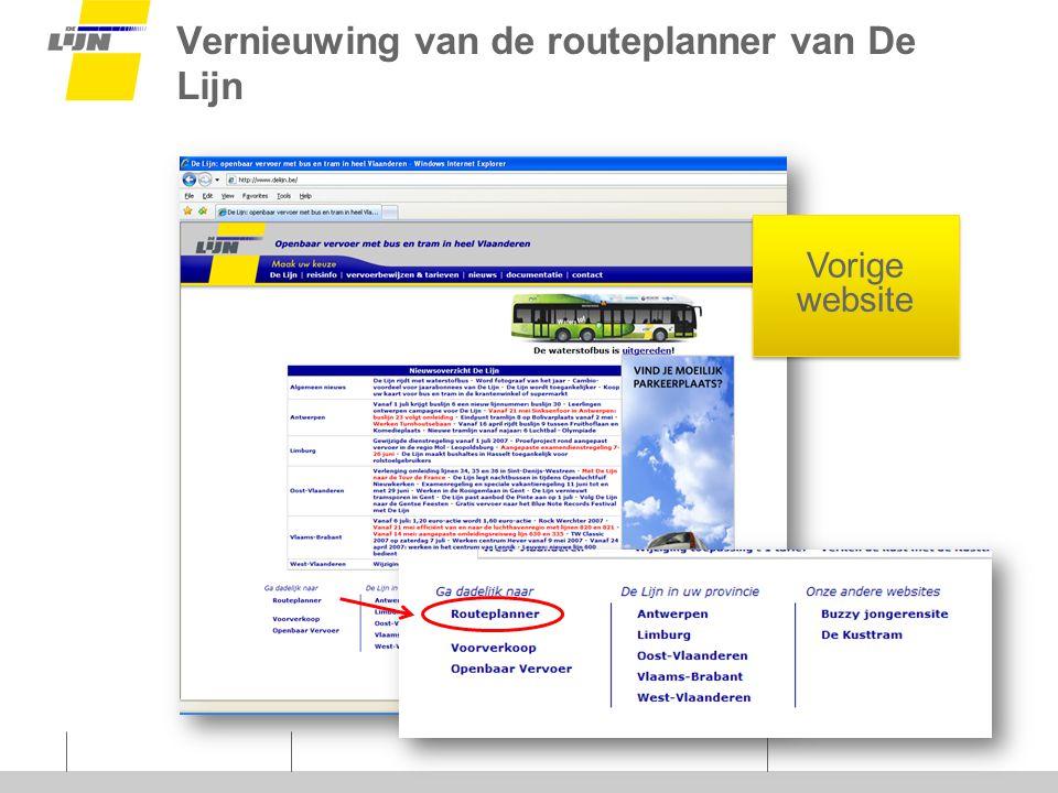 Vernieuwing van de routeplanner van De Lijn Vorige website