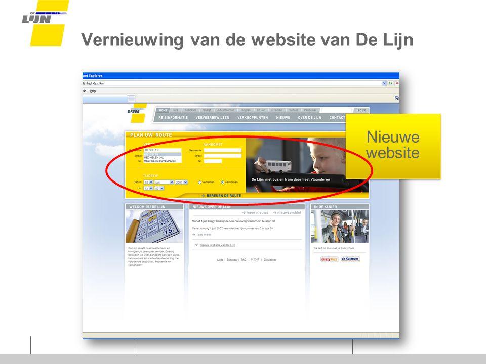 Vernieuwing van de website van De Lijn Nieuwe website