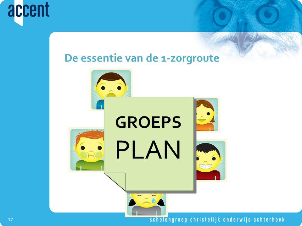 17 De essentie van de 1-zorgroute GROEPS PLAN GROEPS PLAN
