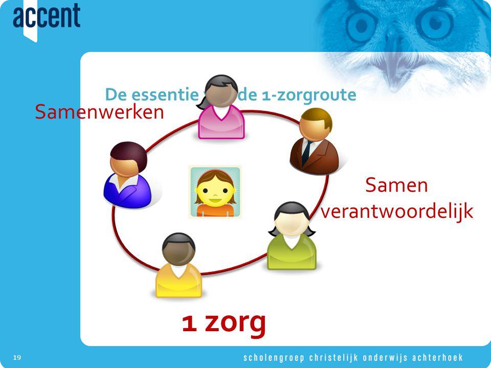19 De essentie van de 1-zorgroute Samenwerken Samen verantwoordelijk 1 zorg