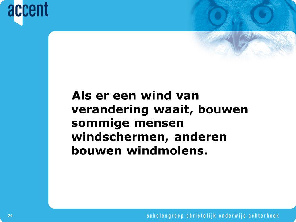 24 Als er een wind van verandering waait, bouwen sommige mensen windschermen, anderen bouwen windmolens.