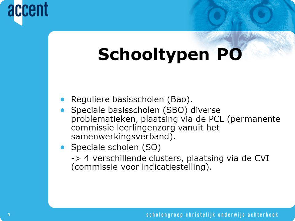 3 Schooltypen PO Reguliere basisscholen (Bao). Speciale basisscholen (SBO) diverse problematieken, plaatsing via de PCL (permanente commissie leerling