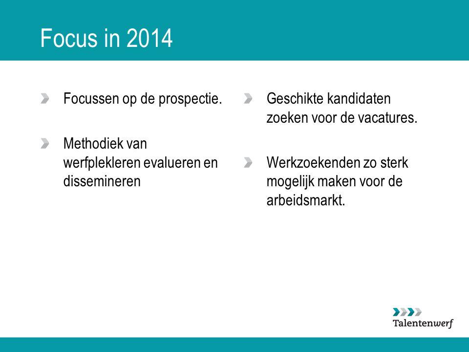 Focus in 2014 Focussen op de prospectie. Methodiek van werfplekleren evalueren en dissemineren Geschikte kandidaten zoeken voor de vacatures. Werkzoek