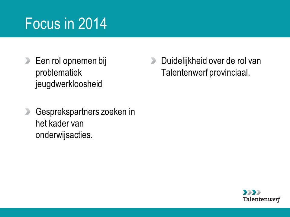 Focus in 2014 Een rol opnemen bij problematiek jeugdwerkloosheid Gesprekspartners zoeken in het kader van onderwijsacties. Duidelijkheid over de rol v