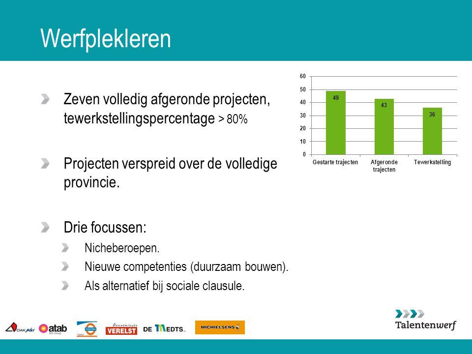 Werfplekleren Zeven volledig afgeronde projecten, tewerkstellingspercentage > 80% Projecten verspreid over de volledige provincie. Drie focussen: Nich