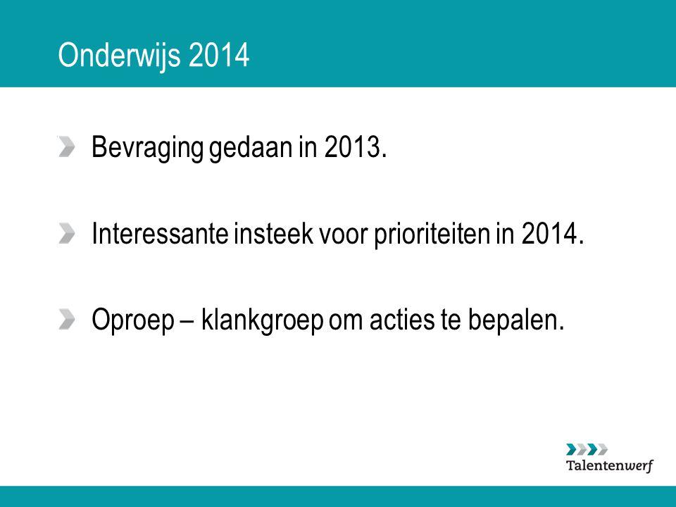Onderwijs 2014 Bevraging gedaan in 2013. Interessante insteek voor prioriteiten in 2014. Oproep – klankgroep om acties te bepalen.