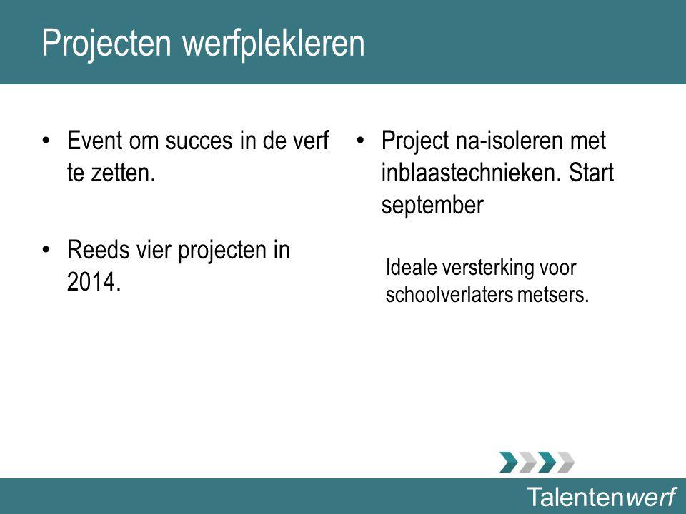 Talentenwerf Projecten werfplekleren Event om succes in de verf te zetten. Reeds vier projecten in 2014. Project na-isoleren met inblaastechnieken. St