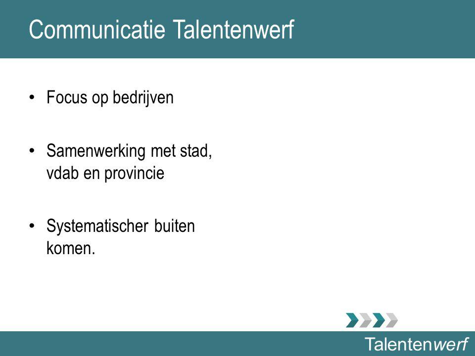 Talentenwerf Communicatie Talentenwerf Focus op bedrijven Samenwerking met stad, vdab en provincie Systematischer buiten komen.