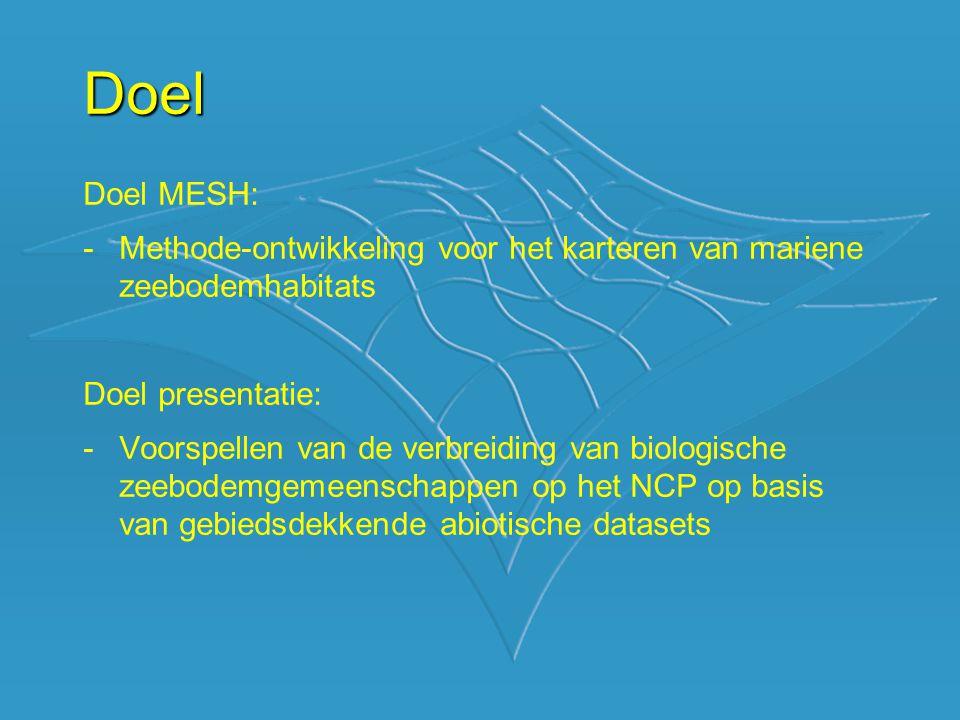 Doel Doel MESH: -Methode-ontwikkeling voor het karteren van mariene zeebodemhabitats Doel presentatie: -Voorspellen van de verbreiding van biologische