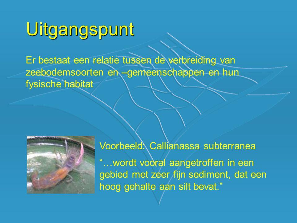 Uitgangspunt Er bestaat een relatie tussen de verbreiding van zeebodemsoorten en –gemeenschappen en hun fysische habitat Voorbeeld: Callianassa subter