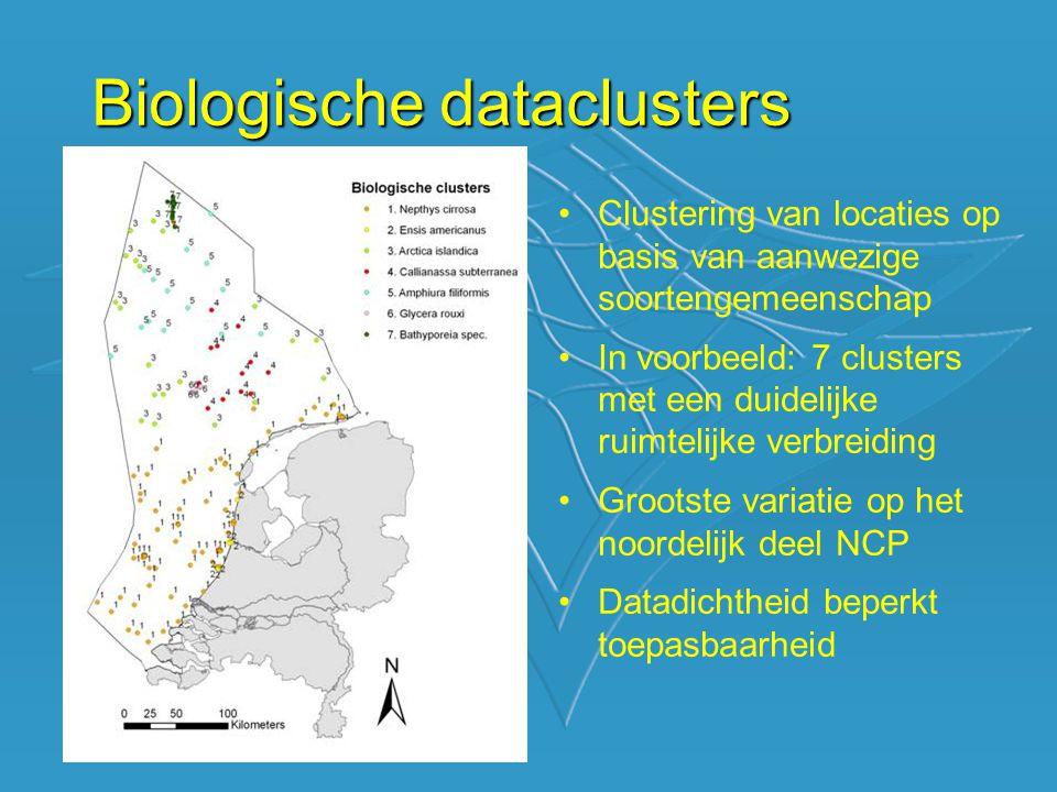 Biologische dataclusters Clustering van locaties op basis van aanwezige soortengemeenschap In voorbeeld: 7 clusters met een duidelijke ruimtelijke verbreiding Grootste variatie op het noordelijk deel NCP Datadichtheid beperkt toepasbaarheid