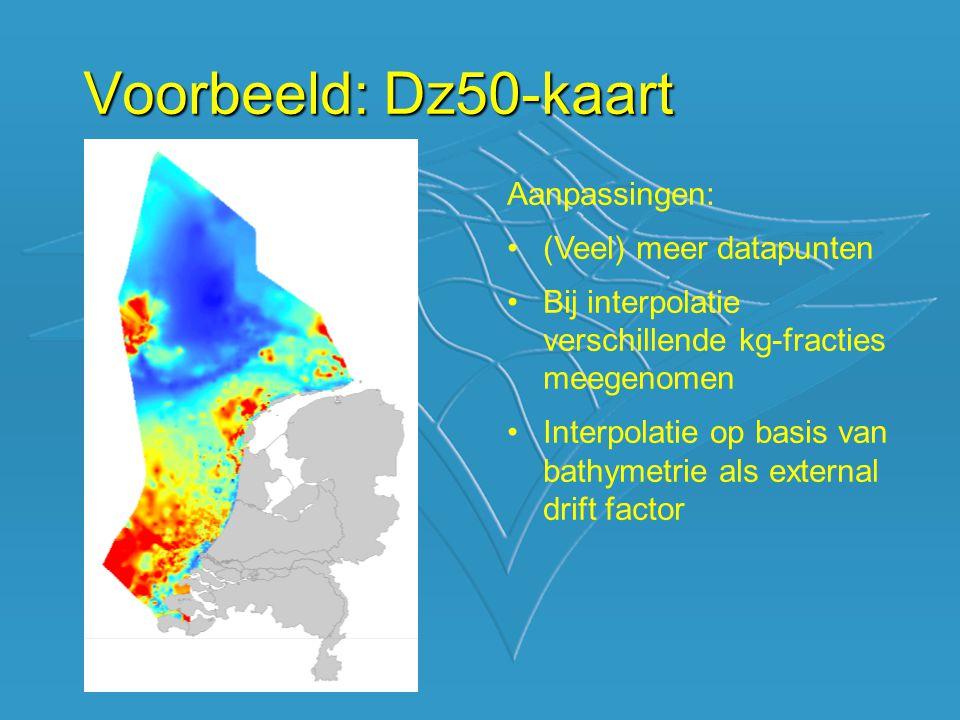Voorbeeld: Dz50-kaart Aanpassingen: (Veel) meer datapunten Bij interpolatie verschillende kg-fracties meegenomen Interpolatie op basis van bathymetrie als external drift factor