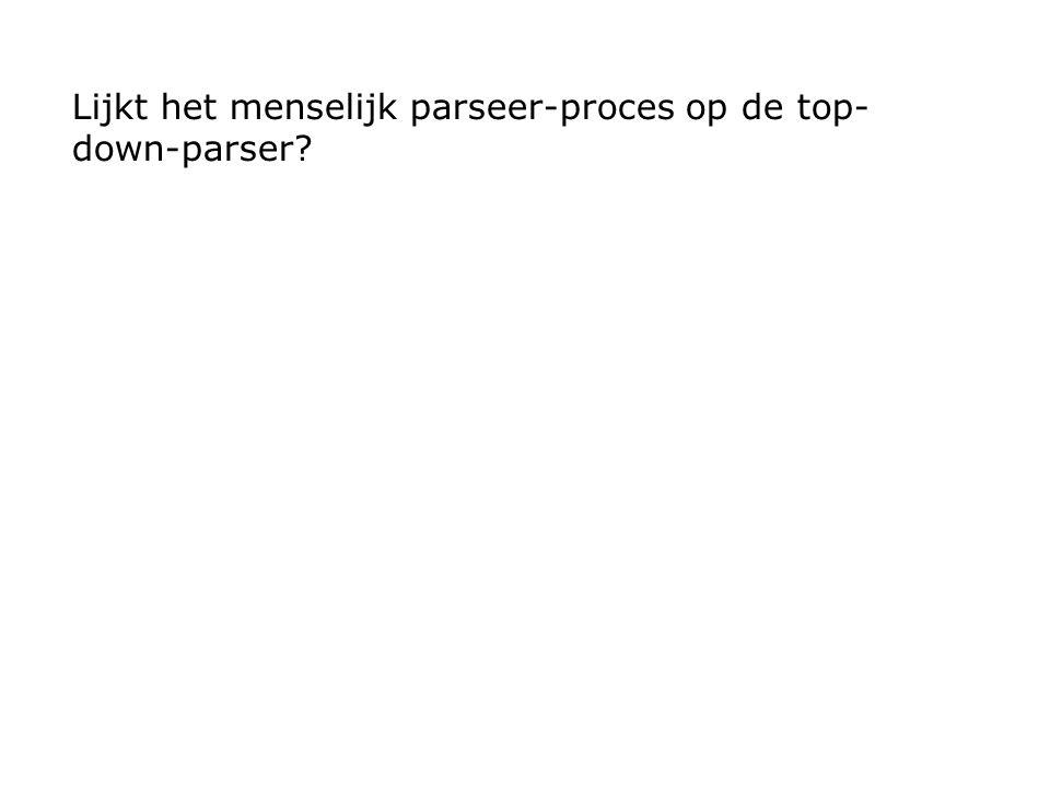 Lijkt het menselijk parseer-proces op de top- down-parser