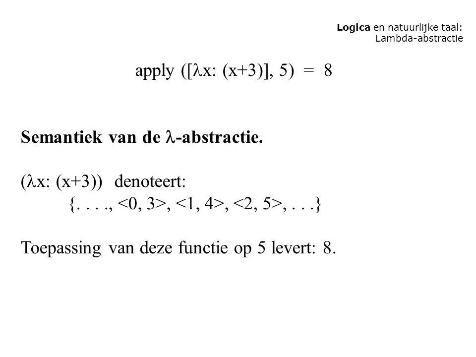 Logica en natuurlijke taal: Lambda-abstractie apply ([ x: (x+3)], 5) = 8 Semantiek van de -abstractie. ( x: (x+3)) denoteert: {....,,,,...} Toepassing