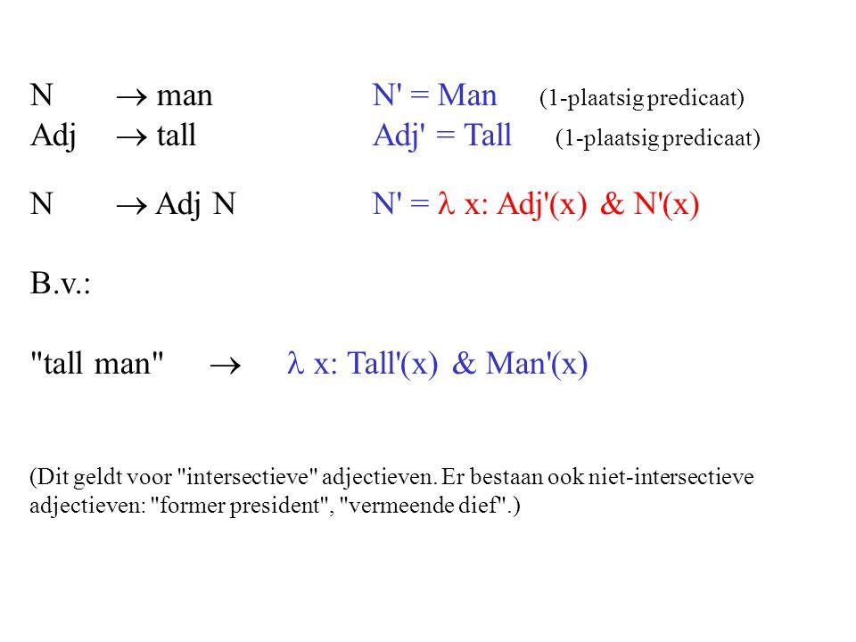 N  manN = Man (1-plaatsig predicaat) Adj  tallAdj = Tall (1-plaatsig predicaat) N  Adj NN = x: Adj (x) & N (x) B.v.: tall man  x: Tall (x) & Man (x) (Dit geldt voor intersectieve adjectieven.