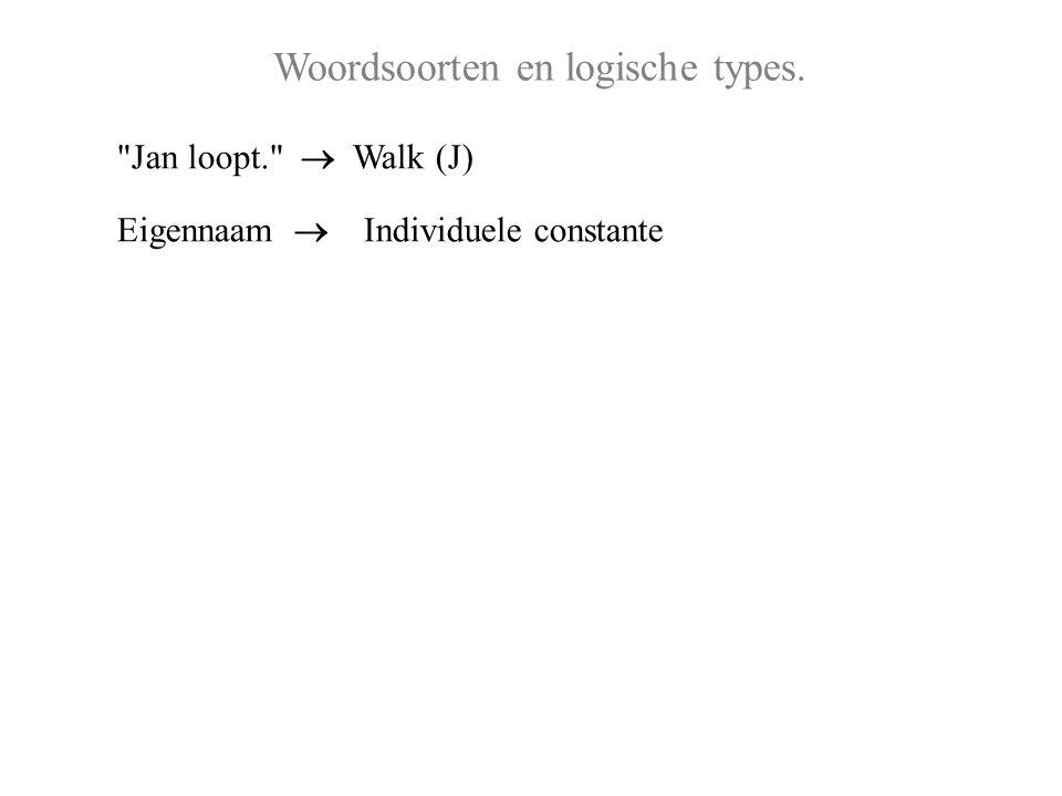 Woordsoorten en logische types. Jan loopt.  Walk (J) Eigennaam  Individuele constante