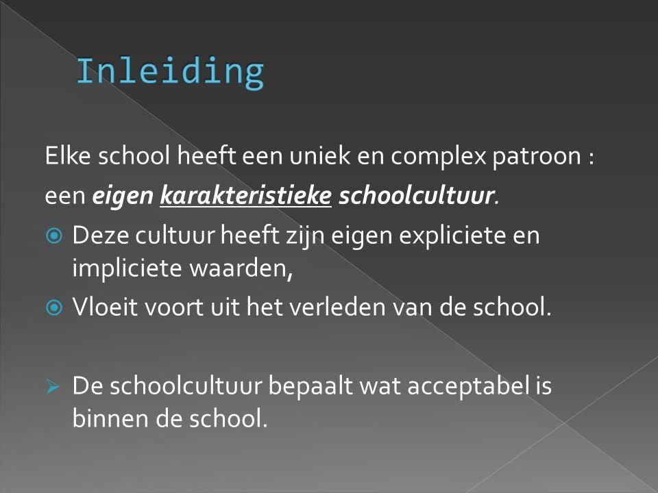 Elke school heeft een uniek en complex patroon : een eigen karakteristieke schoolcultuur.  Deze cultuur heeft zijn eigen expliciete en impliciete waa
