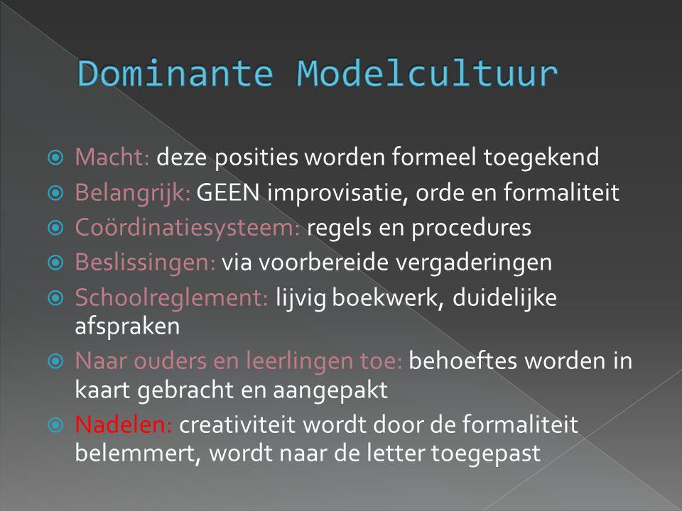  Macht: deze posities worden formeel toegekend  Belangrijk: GEEN improvisatie, orde en formaliteit  Coördinatiesysteem: regels en procedures  Besl
