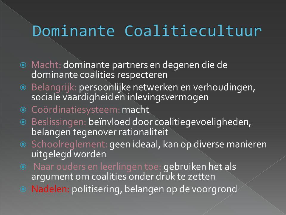 Macht: dominante partners en degenen die de dominante coalities respecteren  Belangrijk: persoonlijke netwerken en verhoudingen, sociale vaardighei