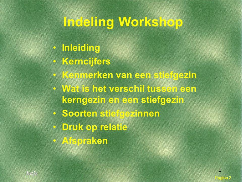 Pagina 2 2 Indeling Workshop Inleiding Kerncijfers Kenmerken van een stiefgezin Wat is het verschil tussen een kerngezin en een stiefgezin Soorten stiefgezinnen Druk op relatie Afspraken