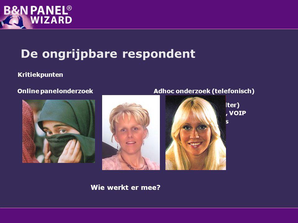De ongrijpbare respondent Kritiekpunten Online panelonderzoek Vertekening online Zelfselectie Paneloverlap Verlotingen Desinteresse Juiste persoon Adh