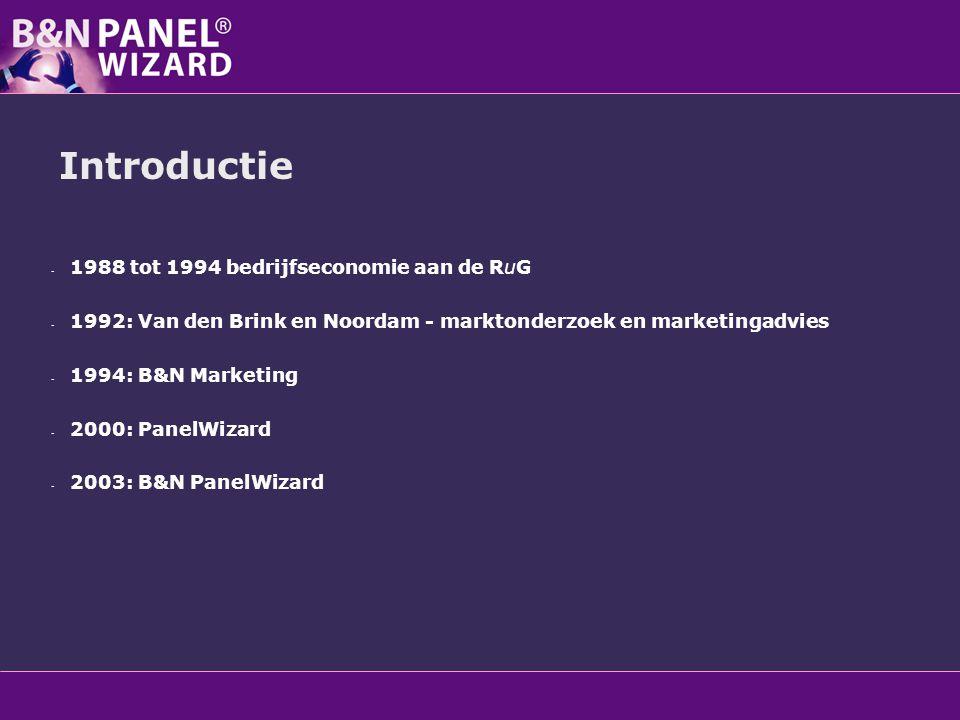 Introductie - 1988 tot 1994 bedrijfseconomie aan de RuG - 1992: Van den Brink en Noordam - marktonderzoek en marketingadvies - 1994: B&N Marketing - 2