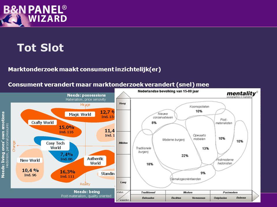 Tot Slot Marktonderzoek maakt consument inzichtelijk(er) Consument verandert maar marktonderzoek verandert (snel) mee Panelonderzoek (vnl online) heef