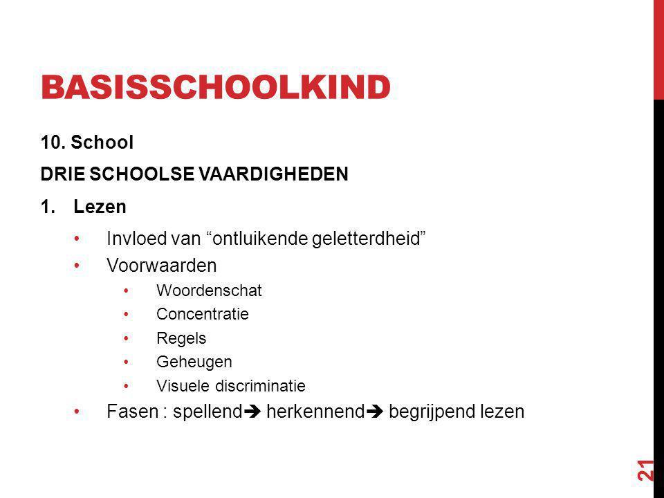 """BASISSCHOOLKIND 10. School DRIE SCHOOLSE VAARDIGHEDEN 1.Lezen Invloed van """"ontluikende geletterdheid"""" Voorwaarden Woordenschat Concentratie Regels Geh"""