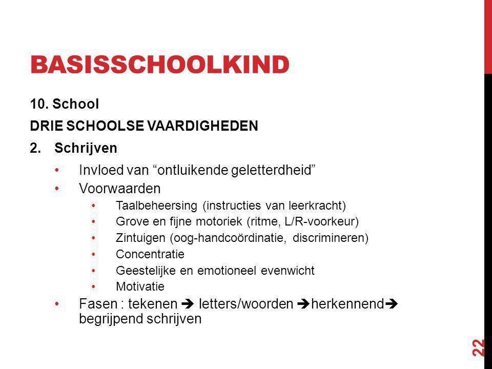 """BASISSCHOOLKIND 10. School DRIE SCHOOLSE VAARDIGHEDEN 2.Schrijven Invloed van """"ontluikende geletterdheid"""" Voorwaarden Taalbeheersing (instructies van"""