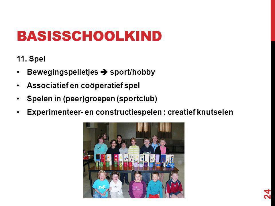 BASISSCHOOLKIND 11. Spel Bewegingspelletjes  sport/hobby Associatief en coöperatief spel Spelen in (peer)groepen (sportclub) Experimenteer- en constr