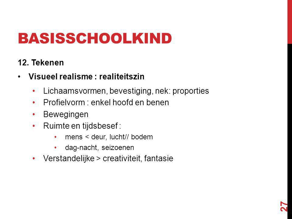 BASISSCHOOLKIND 12. Tekenen Visueel realisme : realiteitszin Lichaamsvormen, bevestiging, nek: proporties Profielvorm : enkel hoofd en benen Beweginge