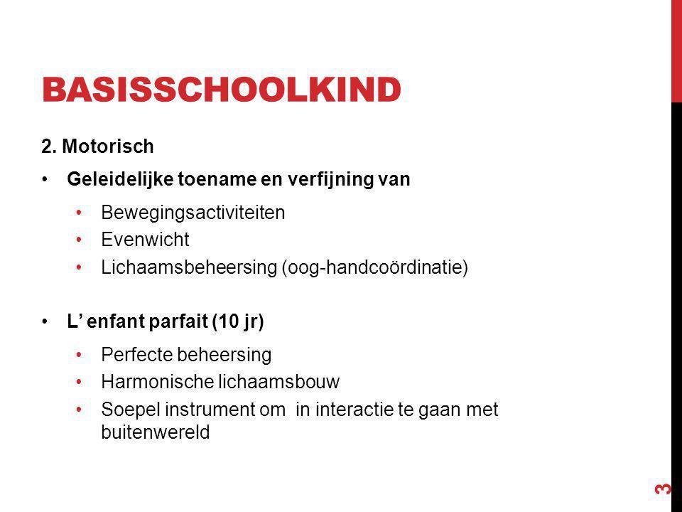 BASISSCHOOLKIND 2. Motorisch Geleidelijke toename en verfijning van Bewegingsactiviteiten Evenwicht Lichaamsbeheersing (oog-handcoördinatie) L' enfant