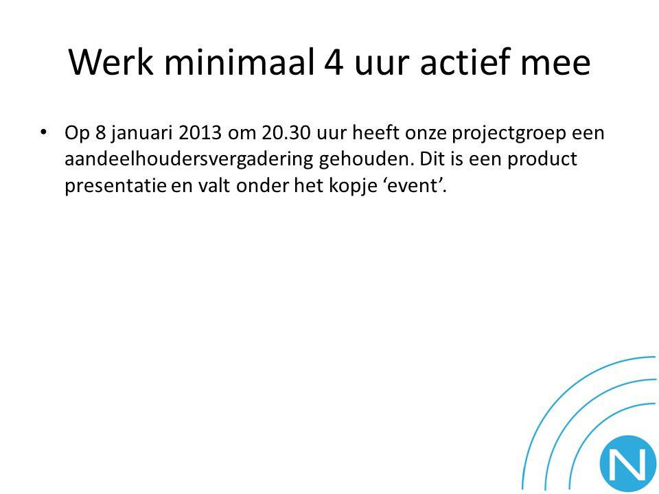 Werk minimaal 4 uur actief mee Op 8 januari 2013 om 20.30 uur heeft onze projectgroep een aandeelhoudersvergadering gehouden. Dit is een product prese