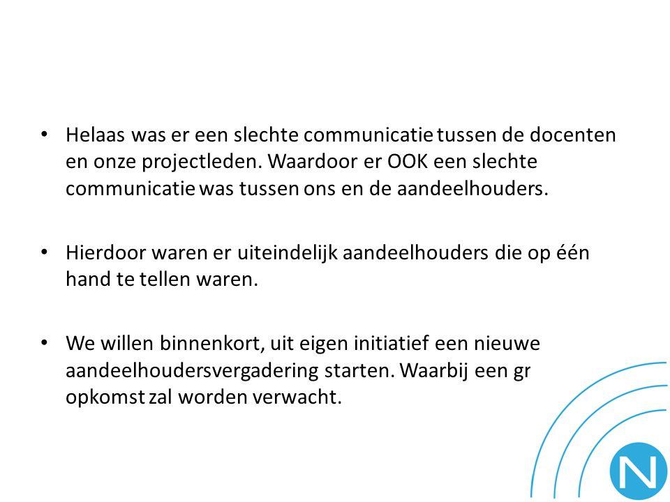 Helaas was er een slechte communicatie tussen de docenten en onze projectleden.