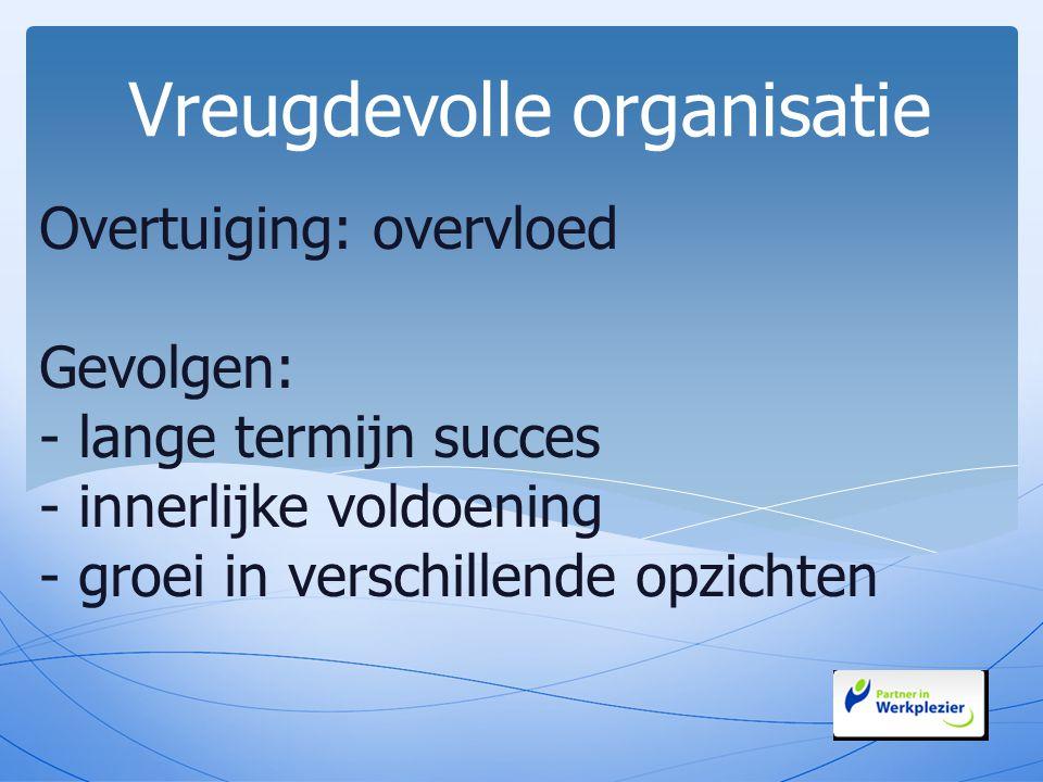 Overtuiging: overvloed Gevolgen: - lange termijn succes - innerlijke voldoening - groei in verschillende opzichten Vreugdevolle organisatie