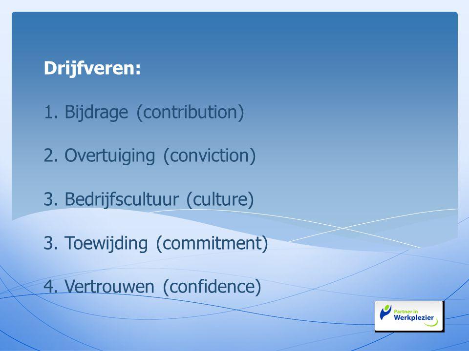 Drijfveren: 1. Bijdrage (contribution) 2. Overtuiging (conviction) 3. Bedrijfscultuur (culture) 3. Toewijding (commitment) 4. Vertrouwen (confidence)