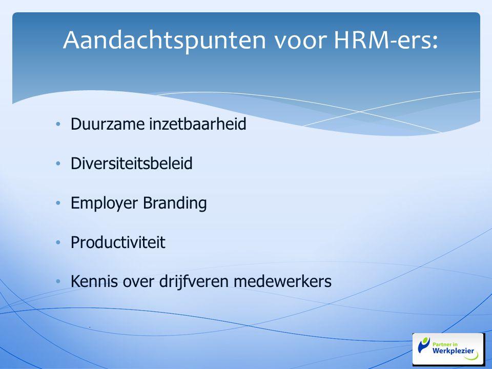 Duurzame inzetbaarheid Diversiteitsbeleid Employer Branding Productiviteit Kennis over drijfveren medewerkers - Aandachtspunten voor HRM-ers:
