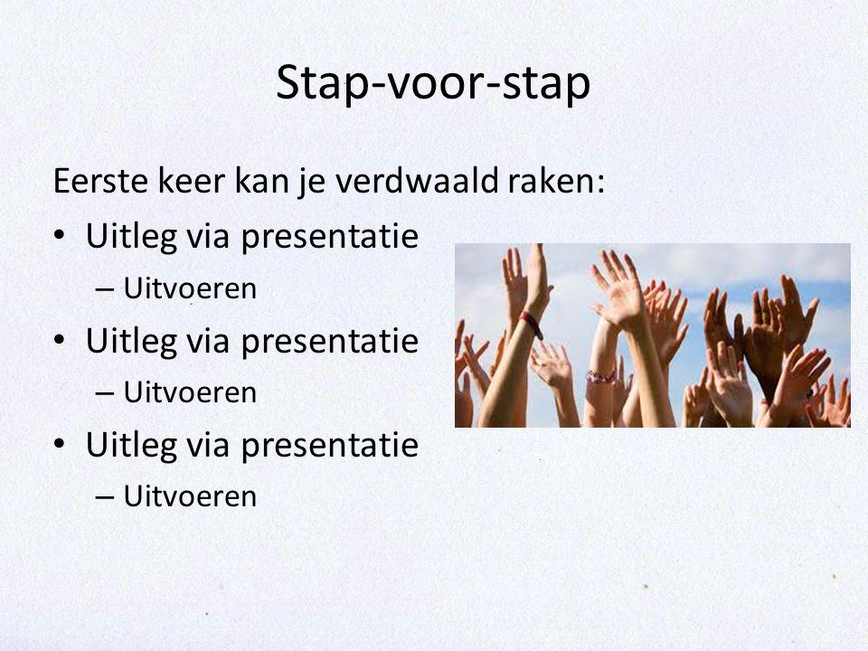 Stap-voor-stap Eerste keer kan je verdwaald raken: Uitleg via presentatie – Uitvoeren Uitleg via presentatie – Uitvoeren Uitleg via presentatie – Uitvoeren