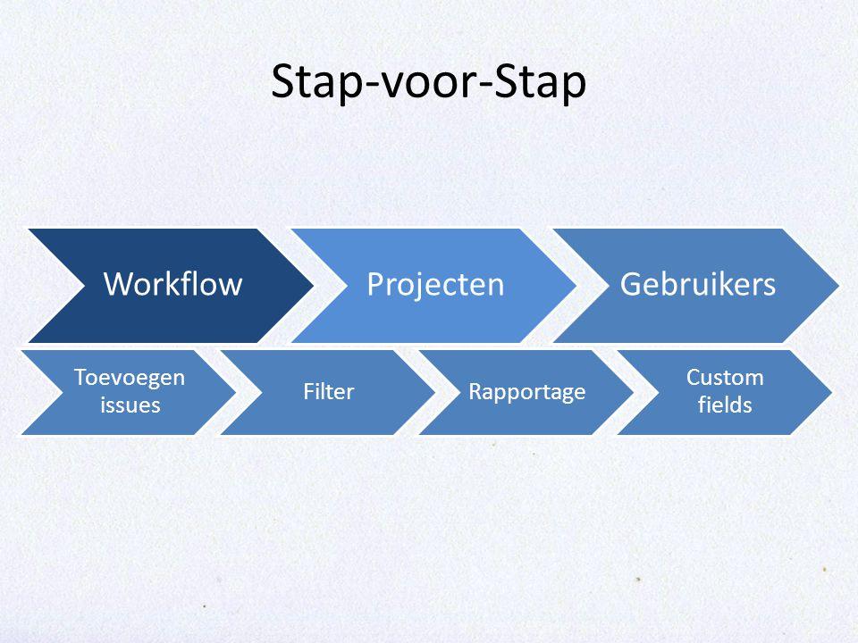 Stap-voor-Stap Toevoegen issues FilterRapportage Custom fields WorkflowProjectenGebruikers