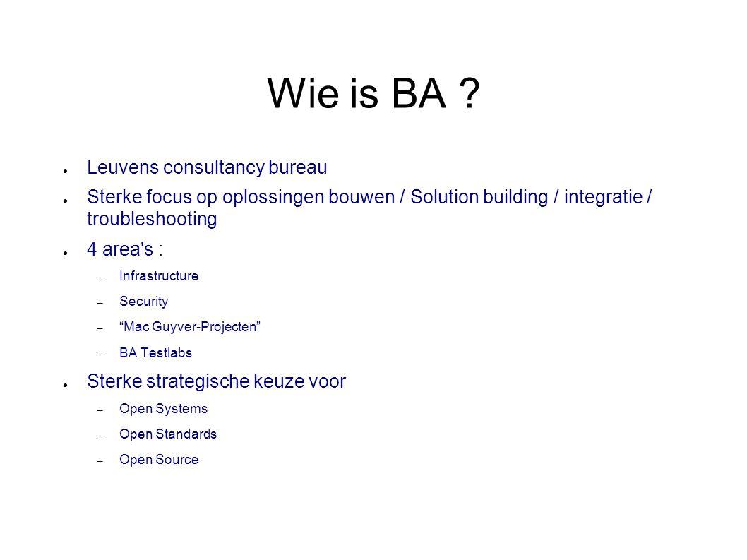 Wie is BA ? ● Leuvens consultancy bureau ● Sterke focus op oplossingen bouwen / Solution building / integratie / troubleshooting ● 4 area's : – Infras