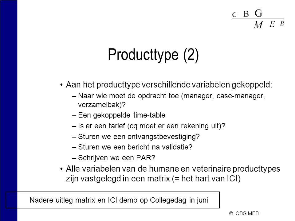 © CBG-MEB Producttype (2) Aan het producttype verschillende variabelen gekoppeld: –Naar wie moet de opdracht toe (manager, case-manager, verzamelbak).