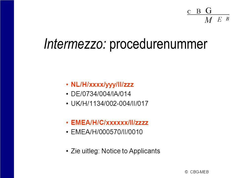 © CBG-MEB Intermezzo: procedurenummer NL/H/xxxx/yyy/II/zzz DE/0734/004/IA/014 UK/H/1134/002-004/II/017 EMEA/H/C/xxxxxx/II/zzzz EMEA/H/000570/II/0010 Zie uitleg: Notice to Applicants