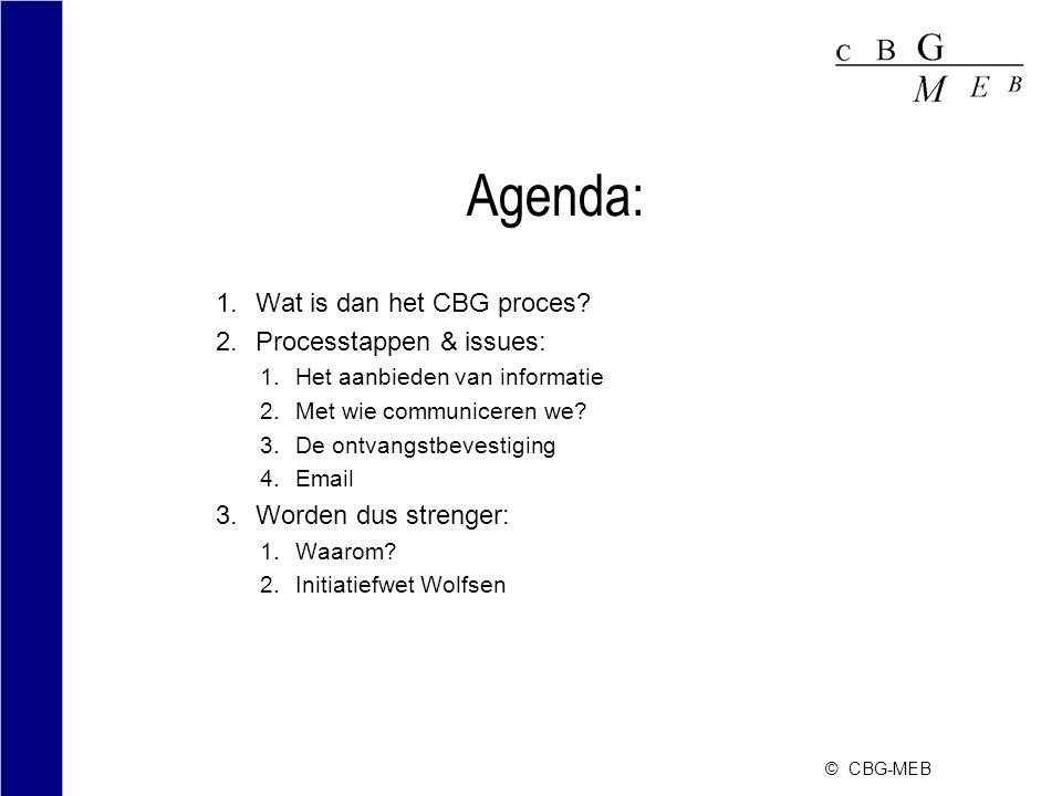 © CBG-MEB Agenda: 1.Wat is dan het CBG proces.
