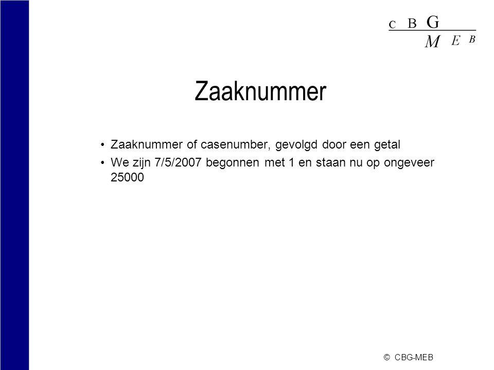 © CBG-MEB Zaaknummer Zaaknummer of casenumber, gevolgd door een getal We zijn 7/5/2007 begonnen met 1 en staan nu op ongeveer 25000